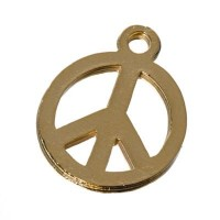 Metallanhänger, Peace, 19,5 x 16 mm, vergoldet