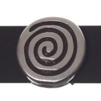 Metallperle Slider / Schiebeperle Schnecke, versilbert, ca. 12 x 11 mm