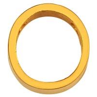 Buchstabe: O, Edelstahlperle in Buchstabenform, goldfarben, 12 x 10 x 3 mm, Lochdurchmesser: 1,8 mm