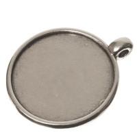 Fassung für Cabochons rund 20 mm, eine Öse, versilbert