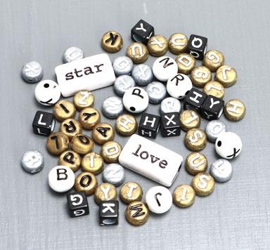 Buchstabenperlen Kunststoff Mixe