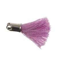 Quaste/Troddel, 18 mm, Baumwollgarn mit Endkappe (silberfarben), lilac