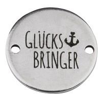 """Coin Armbandverbinder """"Glücksbringer"""" und Anker, 15 mm, versilbert, Motiv lasergraviert"""