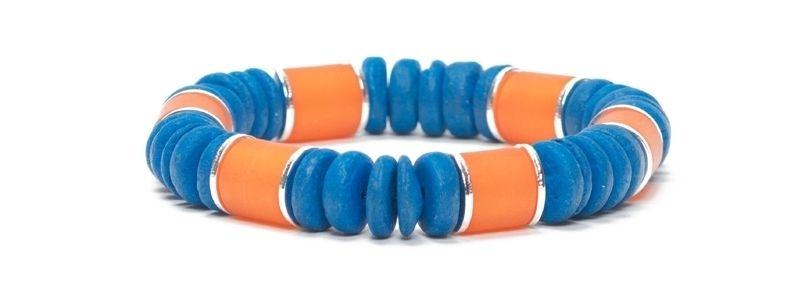 Armband mit Kokosnussperlen Kupfer-Blau