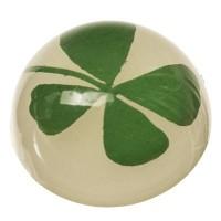 Cabochon mit getrockneter Blume Glücksklee, rund, Durchmesser 12 mm, weiß