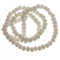 Strang Glasfacett  Rondell, 4 x 6 mm, weiß opak, Länge des Strangs ca. 40 cm