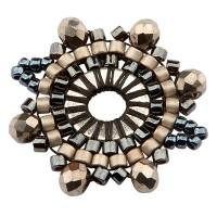 Handgefädeltes Ornament aus japanischen Rocailles, Armbandverbinder, Brauntöne, 21 x 20,5 mm