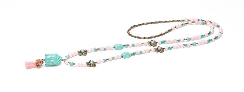Kette Buddha Türkis und Perlen