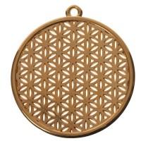 Metallanhänger Blume des Lebens, Durchmesser 45 mm, vergoldet