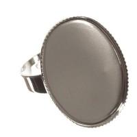 Ringschiene mit Fassungen für Cabochons, oval 18 x 25 mm, verstellbar, silberfarben