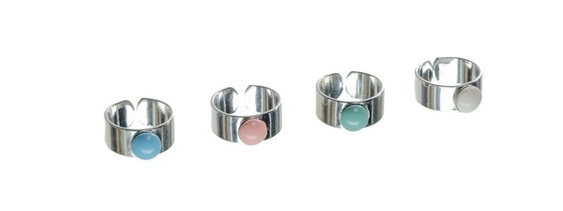 Ringe mit Crystal Pearl Cabochons Pastell
