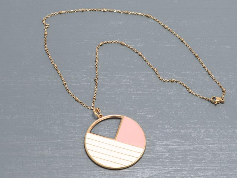 New Geometric - Geometrische Halskette Gold-Rosa