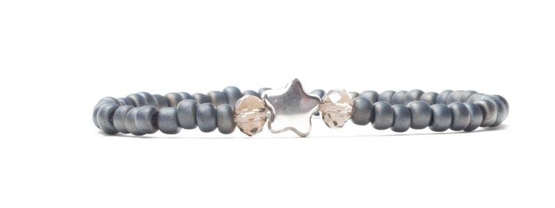 Armband Neutral Gray mit Miyuki Rocailles und Stern