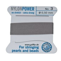 Perlseide, Nylon Power, 0,50 mm, grau, 2 m