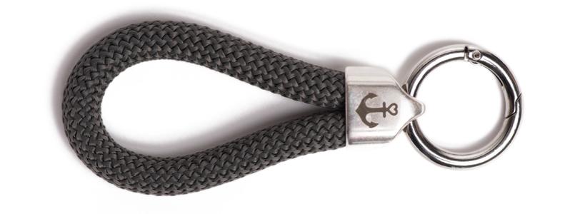 Maritimer Schlüsselanhänger aus Segeltau Dunkelgrau