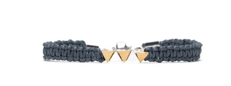 Armband mit Makramee und Microslidern versilbert