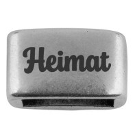 """Zwischenstück mit Gravur """"Heimat"""", 14 x 8,5 mm, versilbert, geeignet für 5 mm Segelseil"""