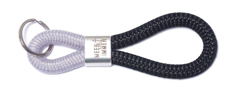 Schlüsselanhänger aus Segelseil Meer Silber-Schwarz