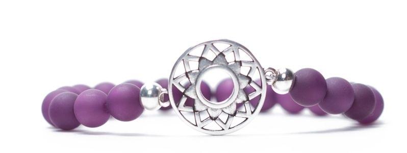 Armband Kronenchakra versilbert lila