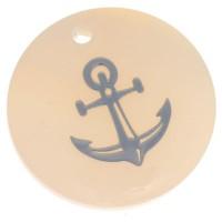 Perlmutt Anhänger, rund, Motiv Anker silberfarben, Durchmesser 16 mm