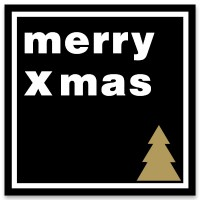 "Schmuckkarte ""Merry Xmas"", schwarz, quadratisch, Größe 8,5 x 8,5 cm"