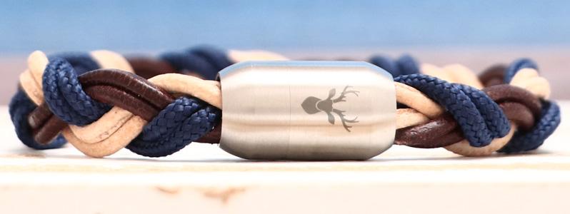 Segeltauarmband mit Segeltau und Lederband Hirsch