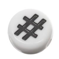Kunststoffperle Hashtag #, runde Scheibe, 7 x 3,7 mm, weiß mit schwarzer Schrift