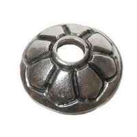 Metallperle Perlkappe, ca. 12,5 mm, versilbert