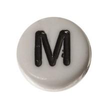 Kunststoffperle Buchstabe M, runde Scheibe, 7 x 3,7 mm, weiß mit schwarzer Schrift