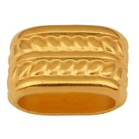 Metallperle für Bänder mit 5 mm Durchmesser, Röhre, 12,5 x 8 mm, vergoldet