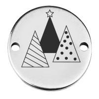 """Coin Armbandverbinder Weihnachten """"Tannenbaumgruppe"""", 15 mm, versilbert, Motiv lasergraviert"""