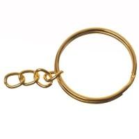 Schlüsselring, Durchmesser 25 mm, mit Kettchen, goldfarben