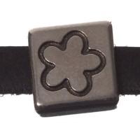 Metallperle Mini-Slider Blume, versilbert, ca. 9 x 9 mm, Durchmesser Fädelöffnung:  5,2 x 2,0 m