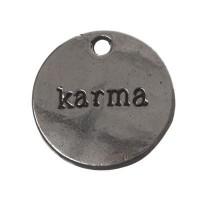 CM Metallanhänger Karma, 21 x 8 mm, silberfarben