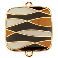 Armbandverbinder Viereck mit Muster, 23 mm, Schwarz-Weiß emailliert, vergoldet