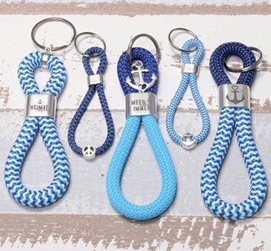 Schmuckanleitungen für selbstgemachte Schlüsselanhänger aus Segelseil