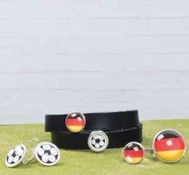 Schwarz-Rot-Golden Fußballschmuck mit Glascabochons machen