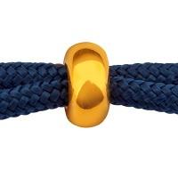 Schiebeverschluss Rondell,  8 x 4 mm, für zwei Bänder mit je 1,5 mm Durchmesser, vergoldet