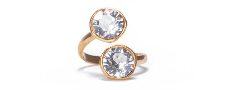 Ring mit Fassungen für Swarovski Chatons vergoldet
