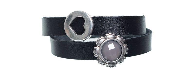Leder-Armband mit Sliderperlen doppelt Dunkelgrau