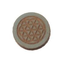 Holzcabochon, rund, Durchmesser 12 mm, Motiv Blume des Lebens, hellblau