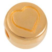 Metallperle, rund, Herz, Durchmesser 7 mm, vergoldet