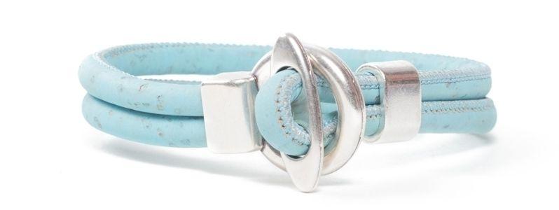 Armband rundes Korkband Hellblau