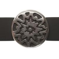 Metallperle Slider Ethno-Scheibe, versilbert, ca. 17 mm