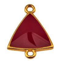 Armbandverbinder Dreieck mit 2 Ösen, vergoldet und bordeuax emailliert