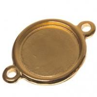 Fassung für Cabochons rund 20 mm, zwei Ösen, vergoldet