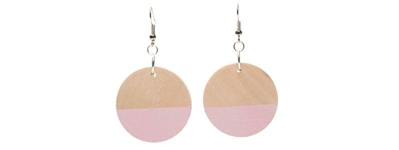 Geometrische Holzperlen-Ohrringe Scheibe