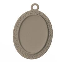 Anhänger/Fassung für Cabochons, oval 18 x 25 mm, weiß