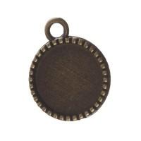 Anhänger/Fassung für Cabochons, rund 12 mm, beidseitig, antik bronzefarben
