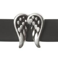 Metallperle Mini-Slider Engelsflügel, versilbert, 9,0 x 9,0 mm, Durchmesser Fädelöffnung:  5,2 x 2,0